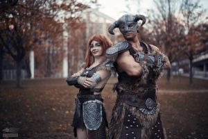 Aela and Dovahkiin - Skyrim by LadySundae