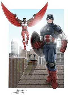 Captain America and Falcon by lukesparrow