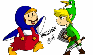 Penguin Mario VS Toon Link by Inkstandy