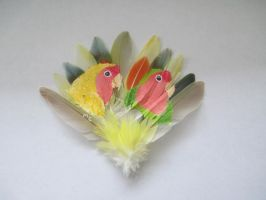Lovebird Feather Painting by MadalynC