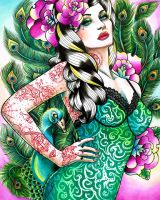 Tattooed Peacock Pin Up by misscarissarose
