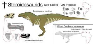 Steroidosaurids and Other Carcharodontosaurs by ZoPteryx