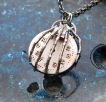 'Grip'  Watch Parts Skeleton Hand Necklace by AMechanicalMind