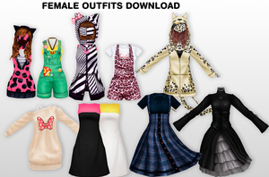 MMD Female Outfits DL by UnluckyCandyFox