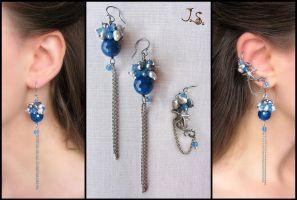 Morning at the sea - ear cuff and earrings set by JuliaKotreJewelry