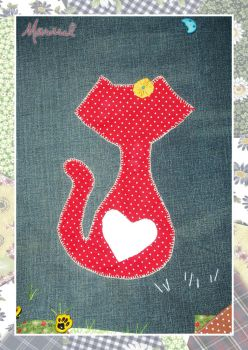 Red Cat on Jeans (detail) by marissel