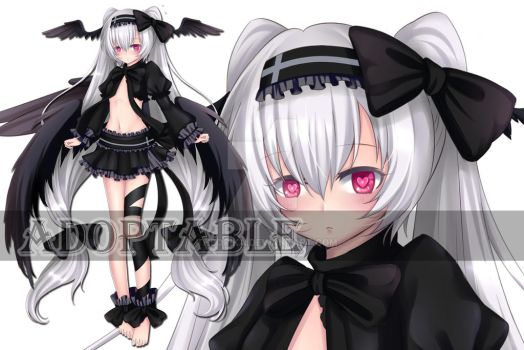 [Closed]doptable Auction : Black Fallen Angel Loli