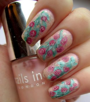 Pink Rose Nail Art by soyoubeauty