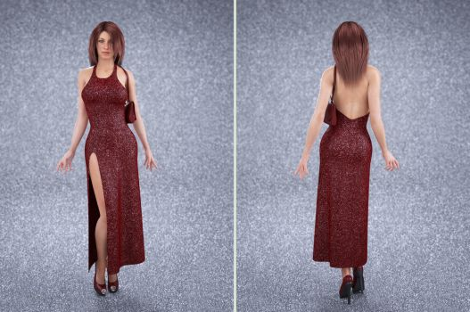 straight evening dress with split by SaphireNishi