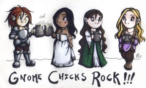 Gnome Chicks Rock by rachelillustrates
