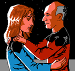 Picard and Crusher in 8 Bit by camir