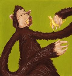 Monkey with banana by Zele-Rebus