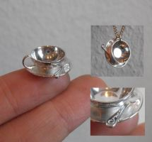 Tea cup silver pendant by fairyfrog