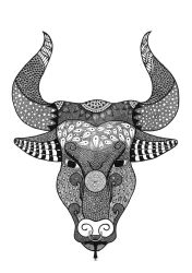 Zentangle Bull by poreen