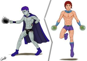 Male Raven and Starfire. by GonZZoArt