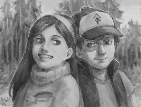 Dipper and Mabel by k1deki