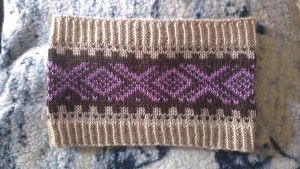 Marius brown and purple headband/earband by KnitLizzy