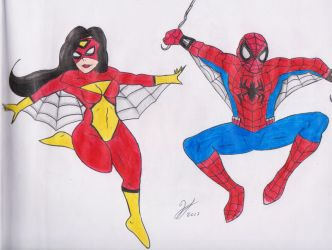 Spiderman and Spider Woman by PandaKillerGao
