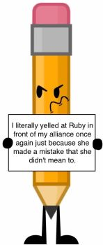 Object Shaming (BFDI style): Pencil by Ball-of-Sugar