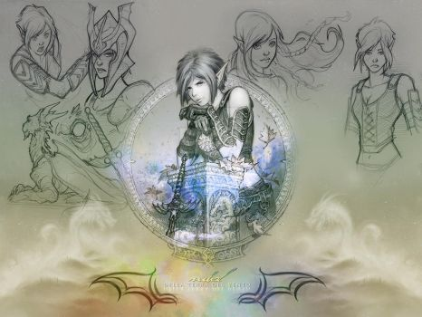 Wallpaper - Nihal Sketches by GothicBrokenBabe