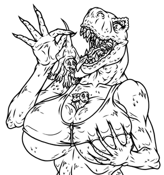 How Much T. Rex Can Vore? - [GIFT] - (Sketch/WIP) by theHyenasSBE