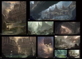 environment design sketches by Tryingtofly
