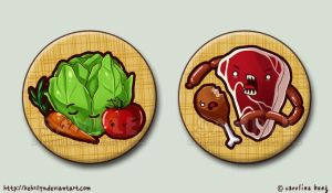 Meat and Veg - Button Set by kehrilyn