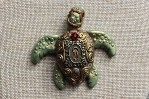 Steampunk Turtle Magnet by chromegoddess