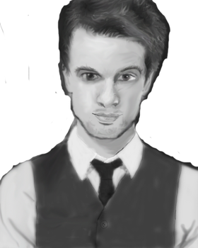 Photoshop: Brendon Urie (Black and White) by Kittenm123
