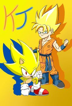 All Out Sonic and Goku (Super Gold Variant) by KuraiJinx