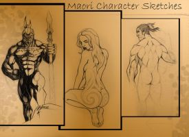 Maori Character Sketches 2 by kiwi-anim8a