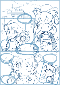 Megaman and Roll in a rainy day comics sketch1 by meteorstom
