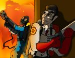 TF2 : Medic VS Pyro by SaintsSister47