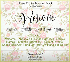 Free Banner Pack :: Sweetline (black white) by HinaTheBlue