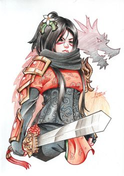 Traditional Commission - Mulan cosplay by DestinySwordArt
