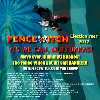 FENCE WITCH for PRESIDENT 2012 by paradigm-shifting