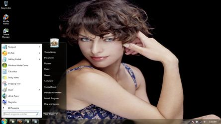 Milla Jovovich-2 Windows 7 theme by windowsthemes
