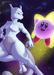 Mewtwo and Kirby by Drasune