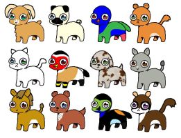 Bright Eyes Pets 10pt(1 6 7 12 open) by katamariluv