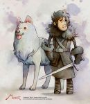 Jon Snow digital waterolor by Vaejoun