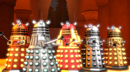 Godzilla and Transformers/Dr. Who The Dalek Fiends by NestieBot