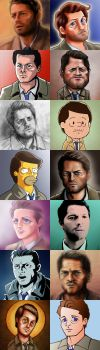 14 faces of Castiel by vicious-sock