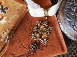 Steampunk Necklace with Rose by GildedGears