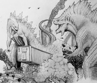 RD: Godzilla vs Tyros by TheGreatestLoverArt