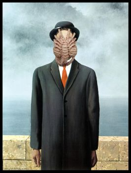 Son of Alien (Magritte w/Alien Facehugger Mashup) by Rabittooth
