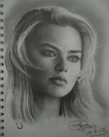 Freehand Drawing of Margot Robbie by Gareth-Jenkinson-Art