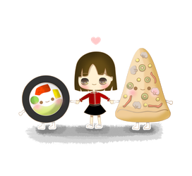 Sushi and pizza by kaze9th