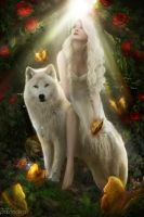 The wolf and the roses by PatriciaLira