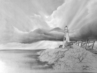 Clouds and lighthouse study Panpastel by Lineke-Lijn