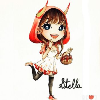 Watercolor Painting of Chibi Stella by MikaLinCow